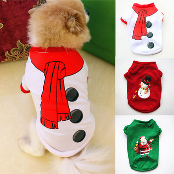 Christmas Dog Clothes Soft Pet Clothes For Small Medium Dogs Vest 2021 Happy New Year Cat Dogs Sweater Winter Warm Puppy Costume image