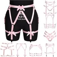 Liguero de lazo rosa Kawaii, jaula para cintura, con medias liguero, correa de ajuste elástico, arnés de Bondage hueco, ropa fetiche gótico