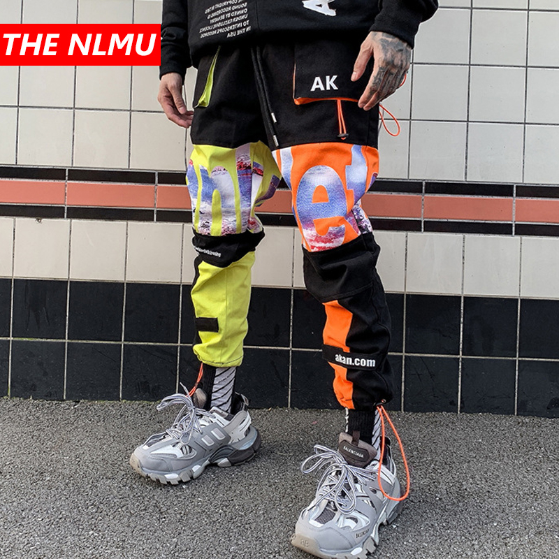 Color Block Patchwork Cargo Harem Pants Mens Casual Jogger Streetwear Hip Hop 2019 Trousers Male Elastic Waist Joggers WG535