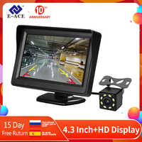 E-ACE j01 carro/caminhão monitor 4.3 Polegada tft lcd tela com automático invertendo a linha de estacionamento câmera visão traseira invertendo monitores segurança