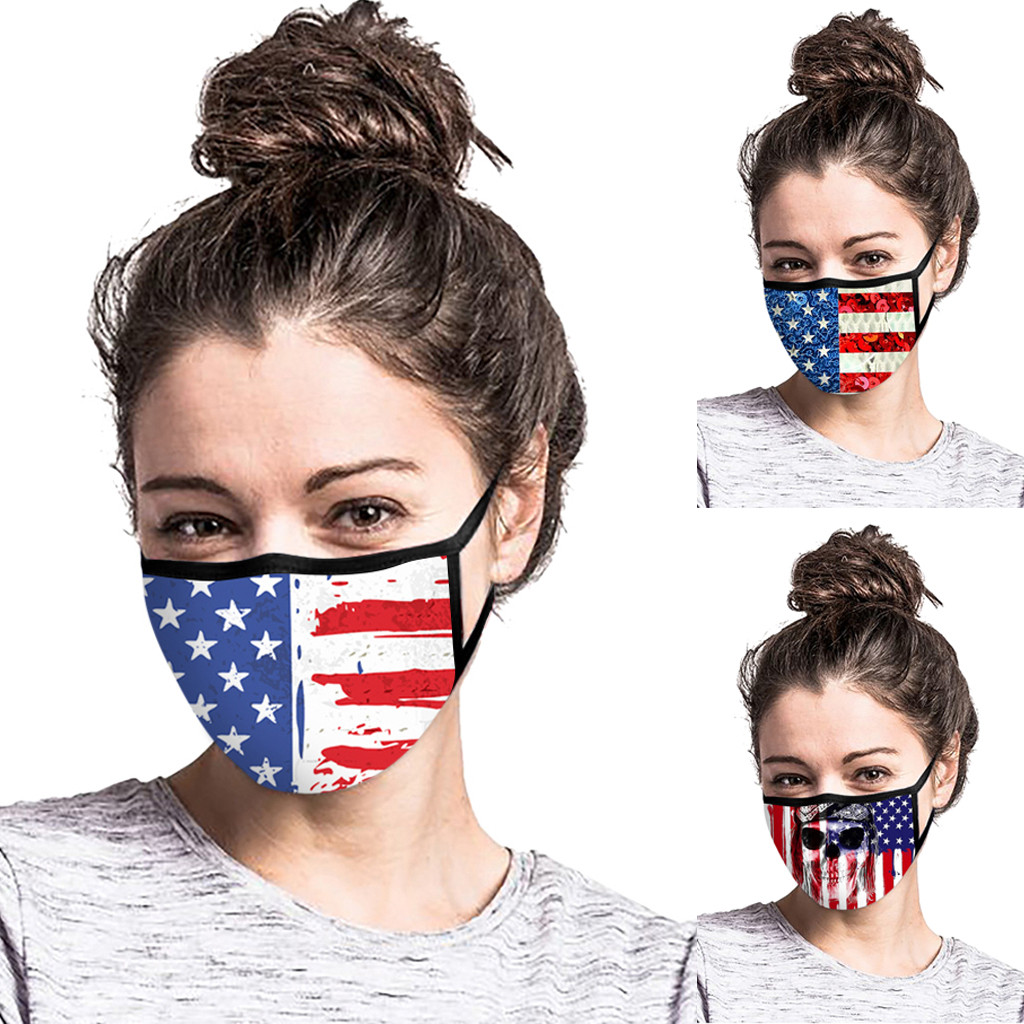 Reusable American Flag Print Face Mask Washable Protective PM2.5 Filter Mask Anti Dust Mask Mouth-muffle Anti-Flu Face Mask