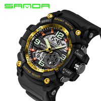 Grand cadran Sport montres pour hommes SANDA 759 S choc Sport montre hommes numérique Quartz montres haut de gamme horloge de luxe 2020