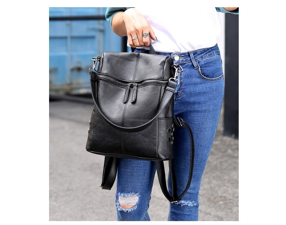 Hfc3941389bc3492998f94ca88b3c0395d Herald Fashion Women's PU Leather Backpack School Bags For Teenage Girls Large Capacity Backpack Laptop Bag Drop Shipping