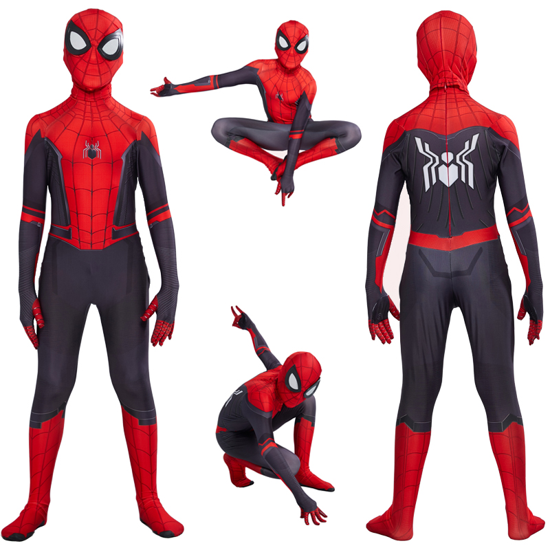 Christmas Costume Children's Red And Black Spiderman Verses Spider Miles Morales Cosplay Zentai Spiderman Pattern Body Bodysuits