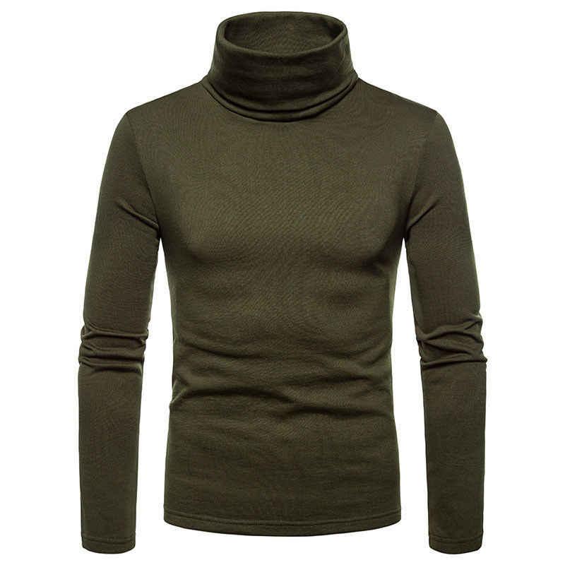 Yeni moda kore erkek kaplumbağa boyun balıkçı yaka kazak streç jumper artı boyutu M L XL 2XL