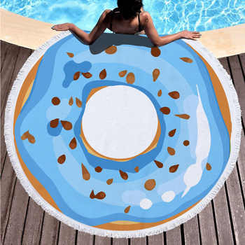 Summer Fashion Beach Towel For Girl Donuts Pattern Super Absorbent Microfiber Blanket Swimming Use with Tassel