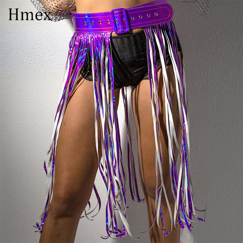 New Women Sexy Night club Tassel Skirt Belt Costume Boho Faux Leather Waistband Fringe High Waist Skirts For Female Belts in Skirts from Women 39 s Clothing