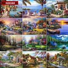 Xueqixiaozu 5d diy pintura diamante paisagem quadrado completo/redondo diamante bordado mosaico casa primavera decorações casa presente