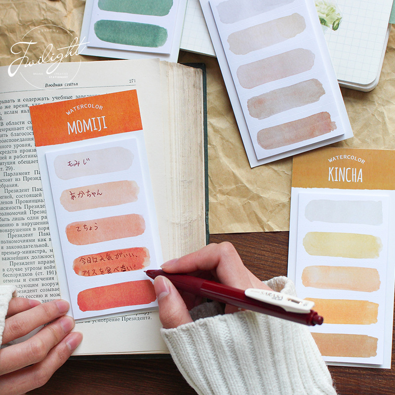 20Sheet/pad Cute Watercolor Sticky Notes Kawaii Bookmark Memo Pad Memo Pad Writing Sticker DIY Stationery School Office Supplies