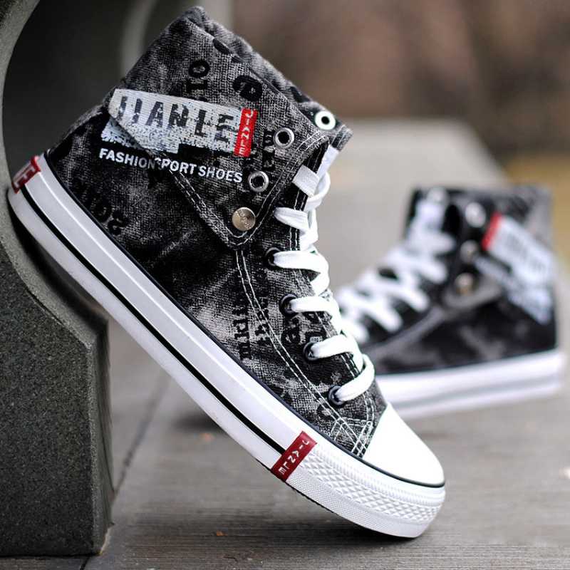 Mens High-top Canvas Shoes Trendy Shoes Rubber Sole Casual Shoes Spring andSummer Single Shoes Breathable Denim High Waist Shoes