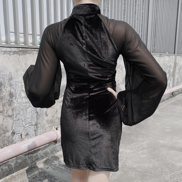 Feitong Dress Women Fashion Gothic Court Stand Collar Hollow Out Patchwork Long Sleeve Dress Women s Clothing