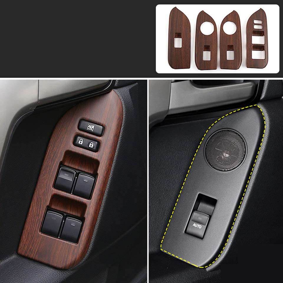Peach Wood Grain Window Glass Switch Cover Trim for Toyota Land Cruiser Prado <font><b>150</b></font> <font><b>2010</b></font> 2011 2012 2013 2014 2015 2016 2017 2018 image