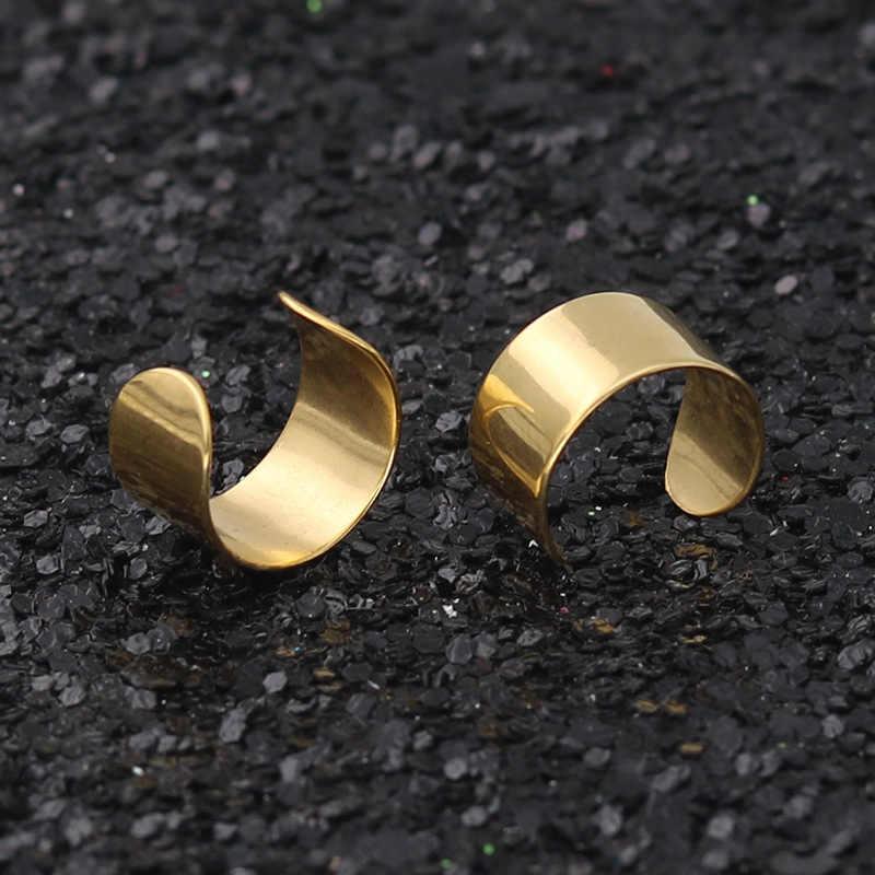 Nuevos pendientes de Clip de acero inoxidable Punk con piercing en la oreja con personalidad Simple para mujeres y hombres