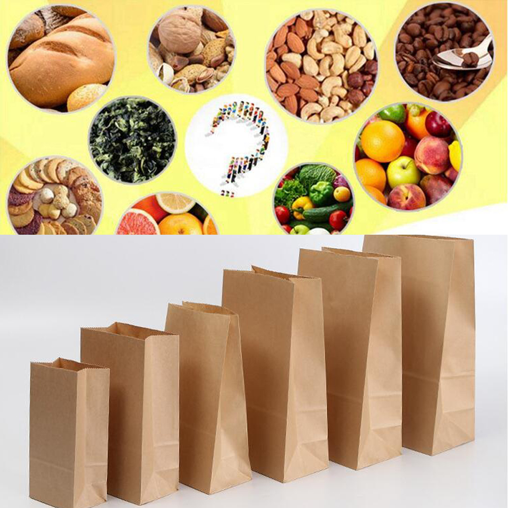 50pcs Kraft Paper Bags Food Tea Small Gift Bags Sandwich Bread Bags Party Wedding Supplies Wrapping Gift Takeout Take Out Bags