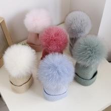 Детская шапка с натуральным мехом для малышей, зимняя шапка с помпонами для мальчиков и девочек, шерстяная шапка, теплая шапка с помпоном из меха енота, детская шапочка, шапка для малыша