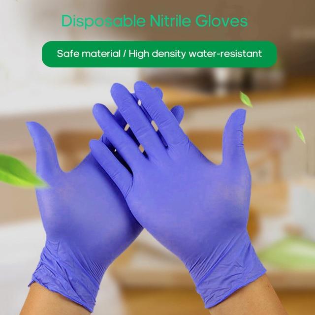 100 قطعة قفازات نيتريل للاستخدام مرة واحدة عدم الانزلاق قفازات مقاومة النفط مقاوم للماء للمنازل صناعة الأغذية تنظيف استخدام متعدد الألوان