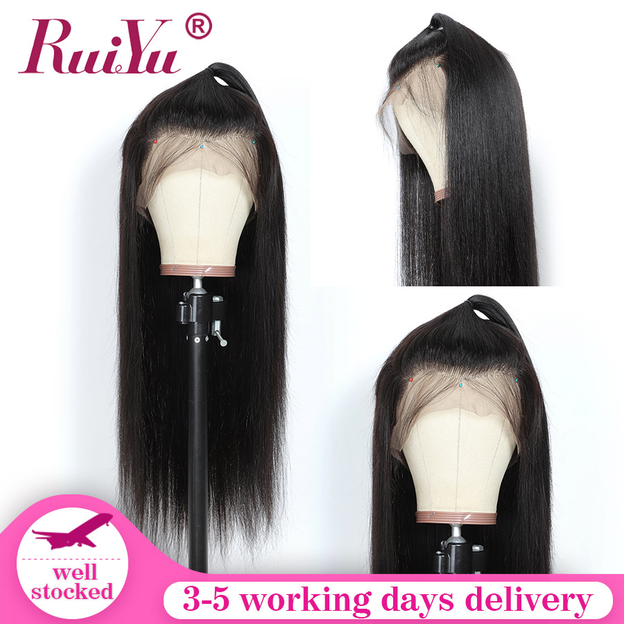 Remy 360 Lace Frontal Wig Pre Plucked With Baby Hair Peruvian Straight Human Hair Wigs For Women Swiss Lace RUIYU Hair Wigs