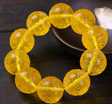 Eastern yard honey wax amber Golden Pearl Bracelet carving heart jewelry multi-jewelry wax Bracelet free of freight(China)