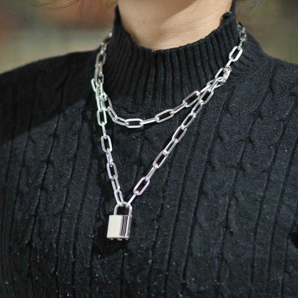 Diezi Fashion Double Layer Lock Silver Gold Color Chain Necklace Men Punk Link Chain Padlock Pendant Necklace For Women Jewelry Chain Necklaces Aliexpress