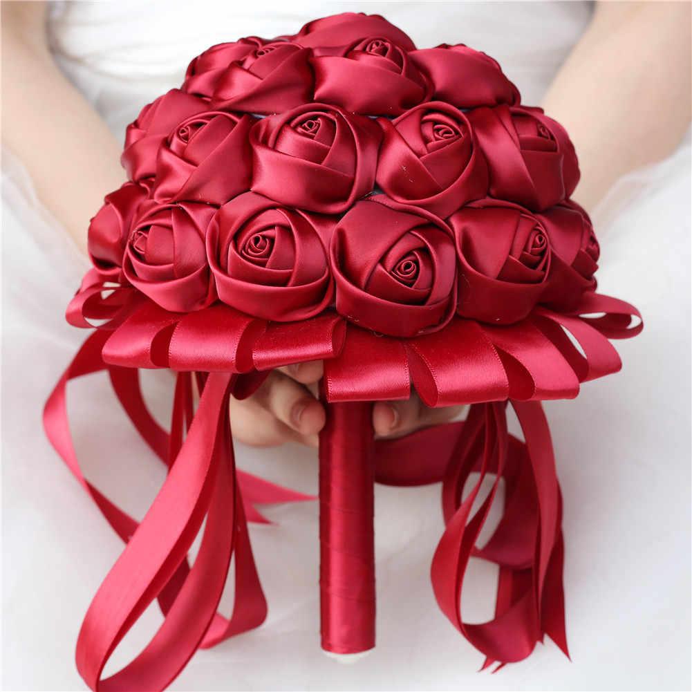 2019 New Borgogna Vino Rosso Sposa Fiore Del Nastro Fatto A Mano Bouquet Da Sposa Damigella D'onore Del Nastro Bouquet Custom Made