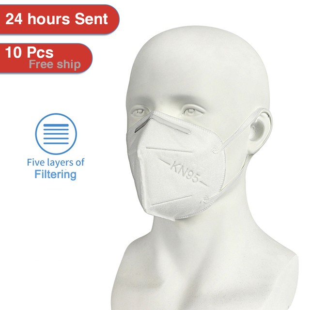 Fast Shipping KN95 5 Layers 95% Filtering Facial Face Masks Dustproof Safety Health Nonwoven Earloop KN95 Cover Mouth Dust Mask 3