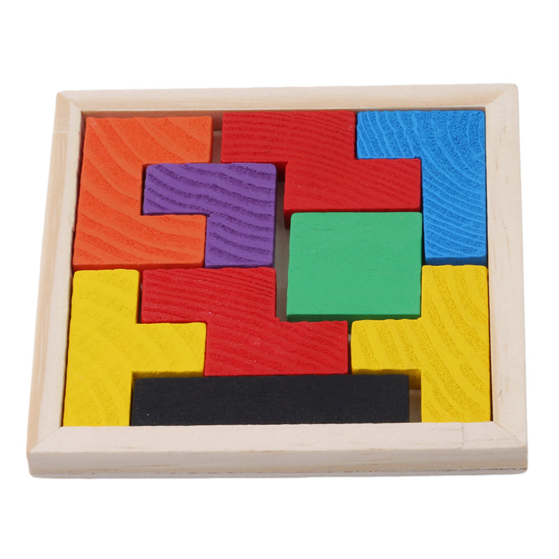 Wooden Tetris Game Educational Jigsaw Puzzle Toys Wood Tangram Brain-Teaser Puzzle Preschool Children Kids Toy