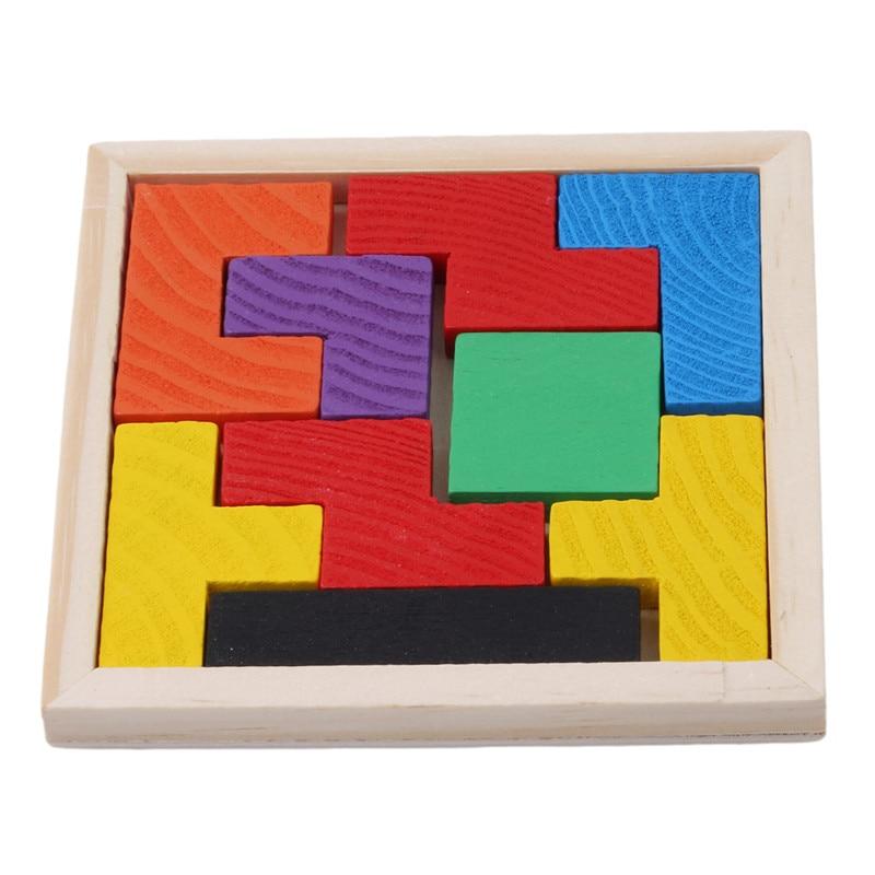 Wooden Tetris Game Educational Jigsaw Puzzle Toys Wood Tangram Brain-Teaser Puzzle Preschool Children Kids Toy