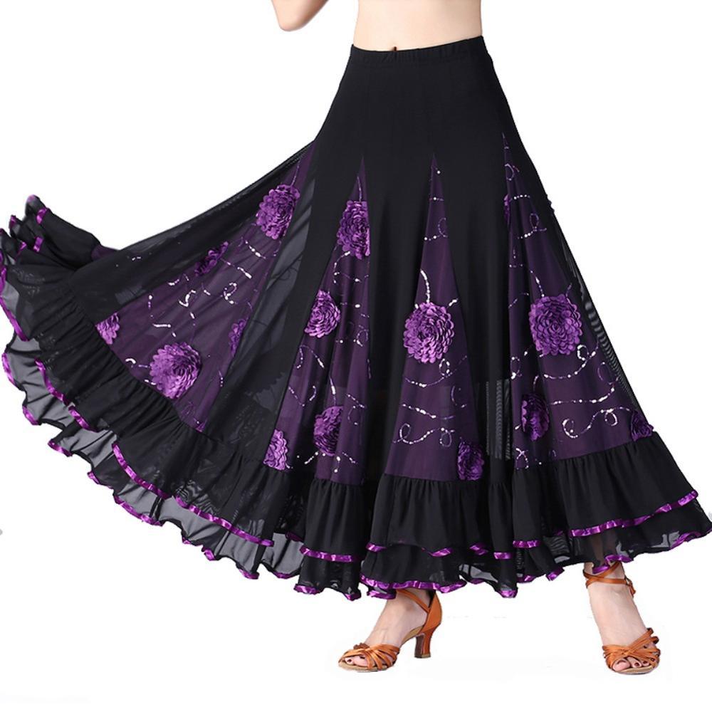 Modern Dance Skirt Sequins Flowers Skirts Tango Ballroom Waltz Dance Skirt For Women Lady Adult Party Half-length Skirt
