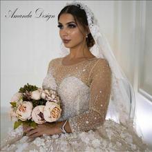 Robe de mariée luxueuse à manches longues, Design Amanda, perles de cristal, robe de mariage luxueuse, grande taille