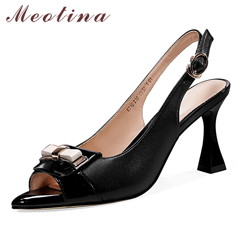 Meotina High Heels Women Shoes Natural Genuine Leather Kitten High Heel Slingbacks Shoes Real Leather Buckle Peep Toe Pumps Lady