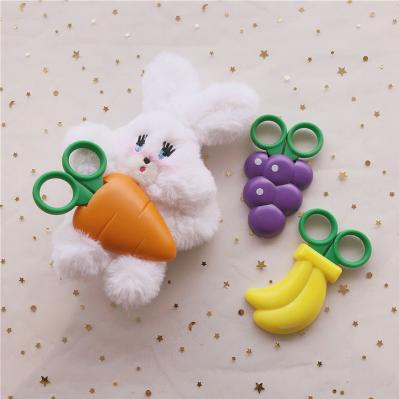 Cartoon Cute Fruit Children's Scissors Girl Heart Refrigerator Stickers Stationery Safety Paper-cut Kawaii Scissors