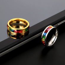 Top Brand Crystal Rainbow Gay Pride Ring Trendy colorful Rings for & Lesbian Stainless Steel CZ