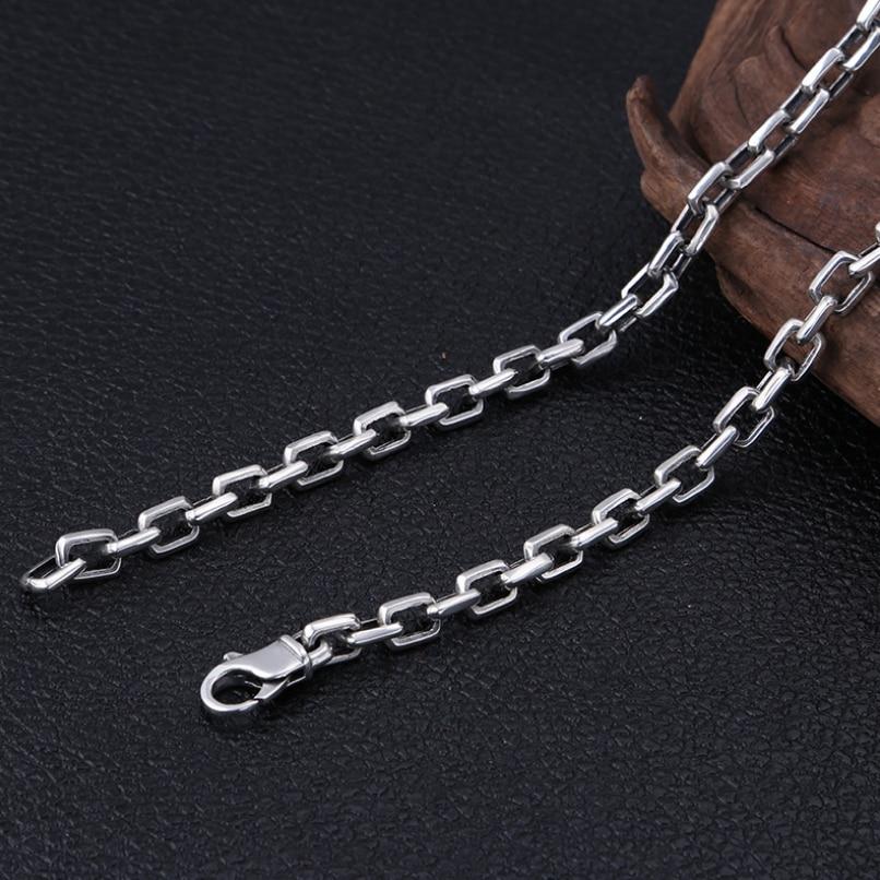 Тяжелая 925 пробы Серебряная 7 мм Простая цепочка для мужчин ожерелье мужское винтажное тайское серебряное стимпанк байкерское ожерелье s ювелирное изделие - 3
