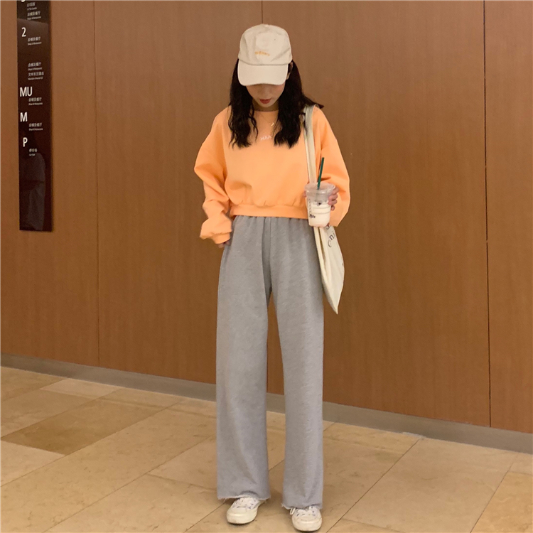 Hfc3ae09e3ae848e39bebbda966aa76d7k - Autumn / Winter High Waist Elastic Broadcloth Straight Solid Pants