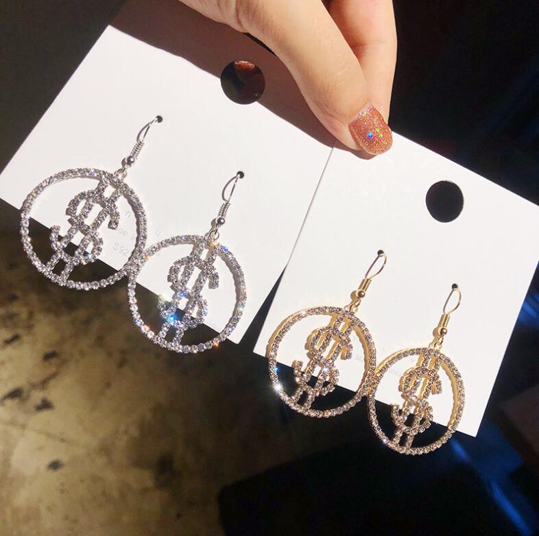 Benzersiz tasarım abd doları para $ damla kristal küpe kadınlar için yuvarlak küpe kadınlar için Trendy takı hediyeler yeni varış