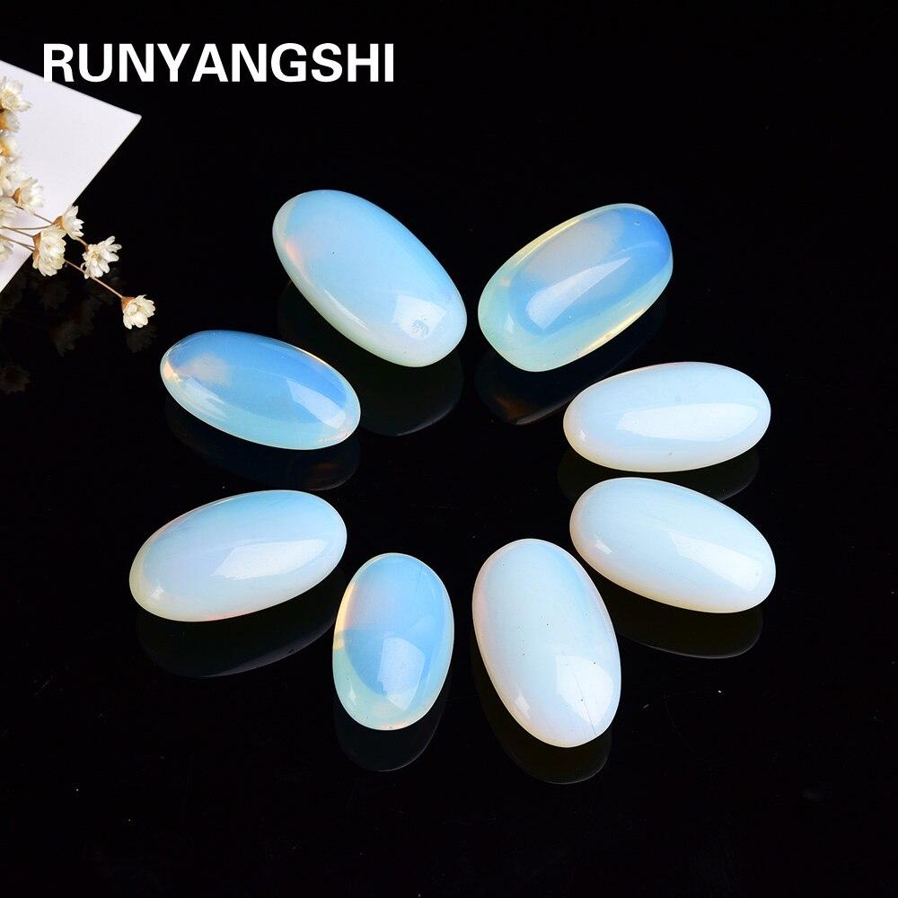 30g/pc Artificial Opal Large Grain Oval Moonstone Sea  Jewelry Crystal Polishing Stone For Garden Aquarium Decoration