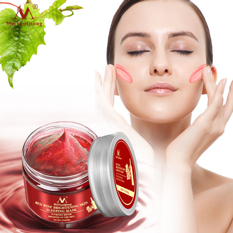 Red Wine Essence Sleeping Facial Mask Whitening Nourishing Mask Moisturizing Nutrition Repair Brighten Up The Skin Gel Night