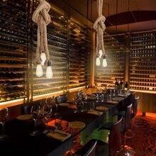 Cafe Bar Luci di Casa Retro Paese Triple E27 Titolari di 3 Teste di Corda di Canapa Lampada Della Luce Industriale