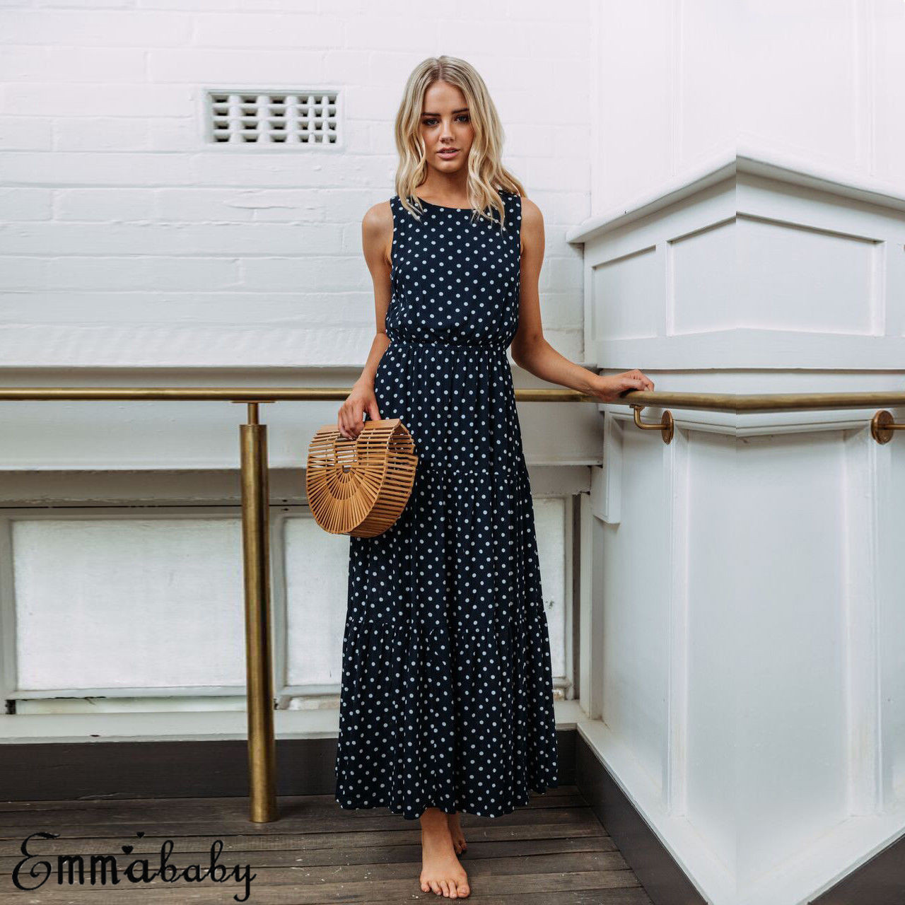 Hfc3b164ecda9427c8ed7a431f45843e1T 2019 Bobo Women Dark Blue Boho Loose Sleeveless Holiday Dot Print Long Maxi Dress Evening Party Beach Dresses Summer Sundress
