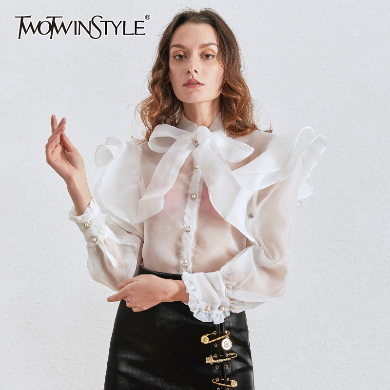 >TWOTWINSTYLE Elegant Bowknot Shirts For Women Stand Collar Lantern Long Sleeve Ruffle Shirts Blouse <font><b>Female</b></font> <font><b>2020</b></font> <font><b>Clothing</b></font> Fashion