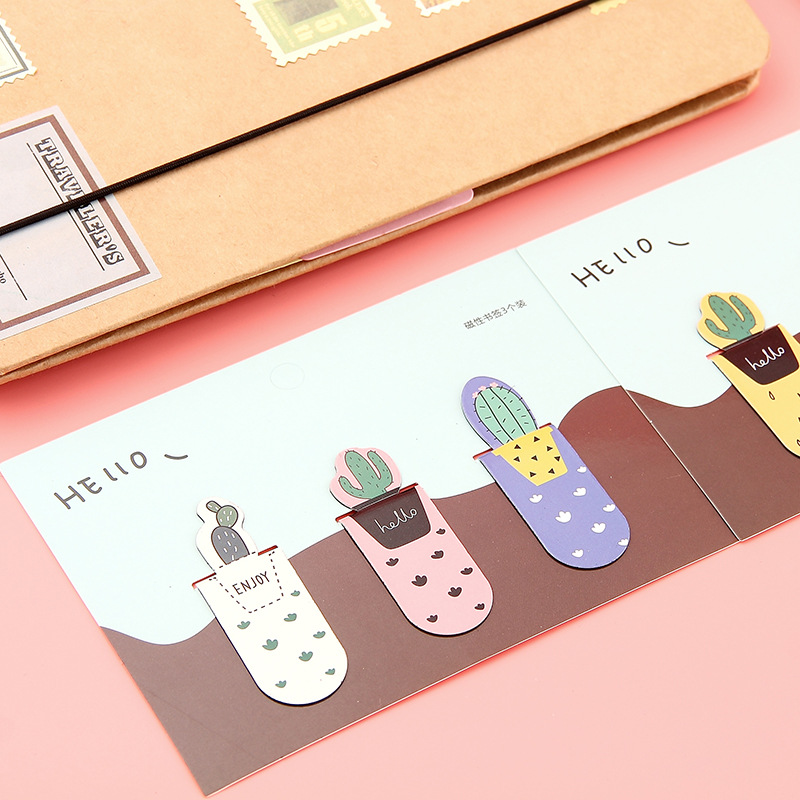 3 Pcs Magnetic Bookmark Cartoon Cactus Book Mark Message Cards Bookmark For Books/Share/book Markers/tab For Books/stationery