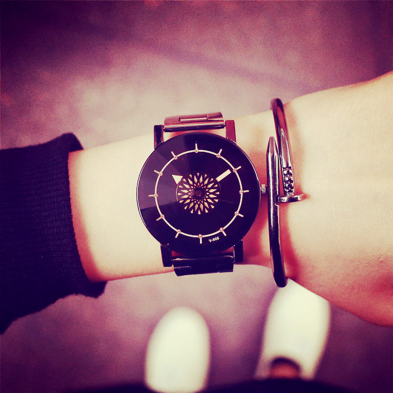 Unique Black Brief Quartz Couple Watch Difference Size Boy And Girl Wristwatches Stainless Steel Harajuku Style Women Men Clock
