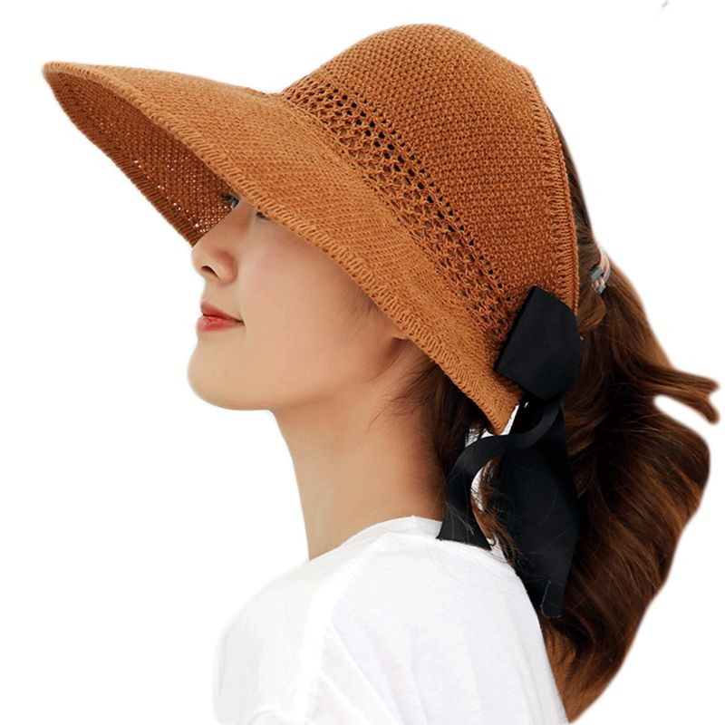 Womens Summer Foldable Straw Weave Sun Hat Long Ribbon Bowknot Open Top Ponytail Wide Wavy Brim Hollow Beach Bucket Cap 7 Colors