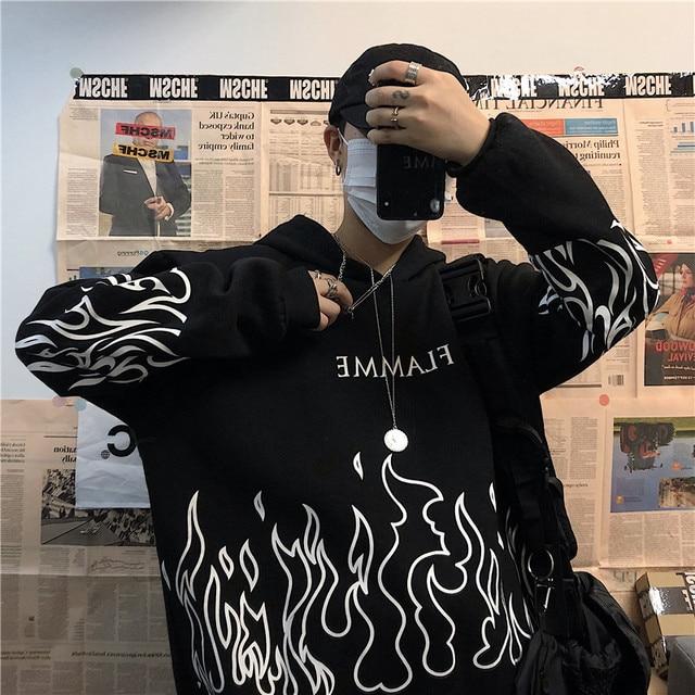 Kpop retro flame print hoodie Korean version ins Harajuku bf style street hip-hop loose plus velvet sweatshirt for men and women 5
