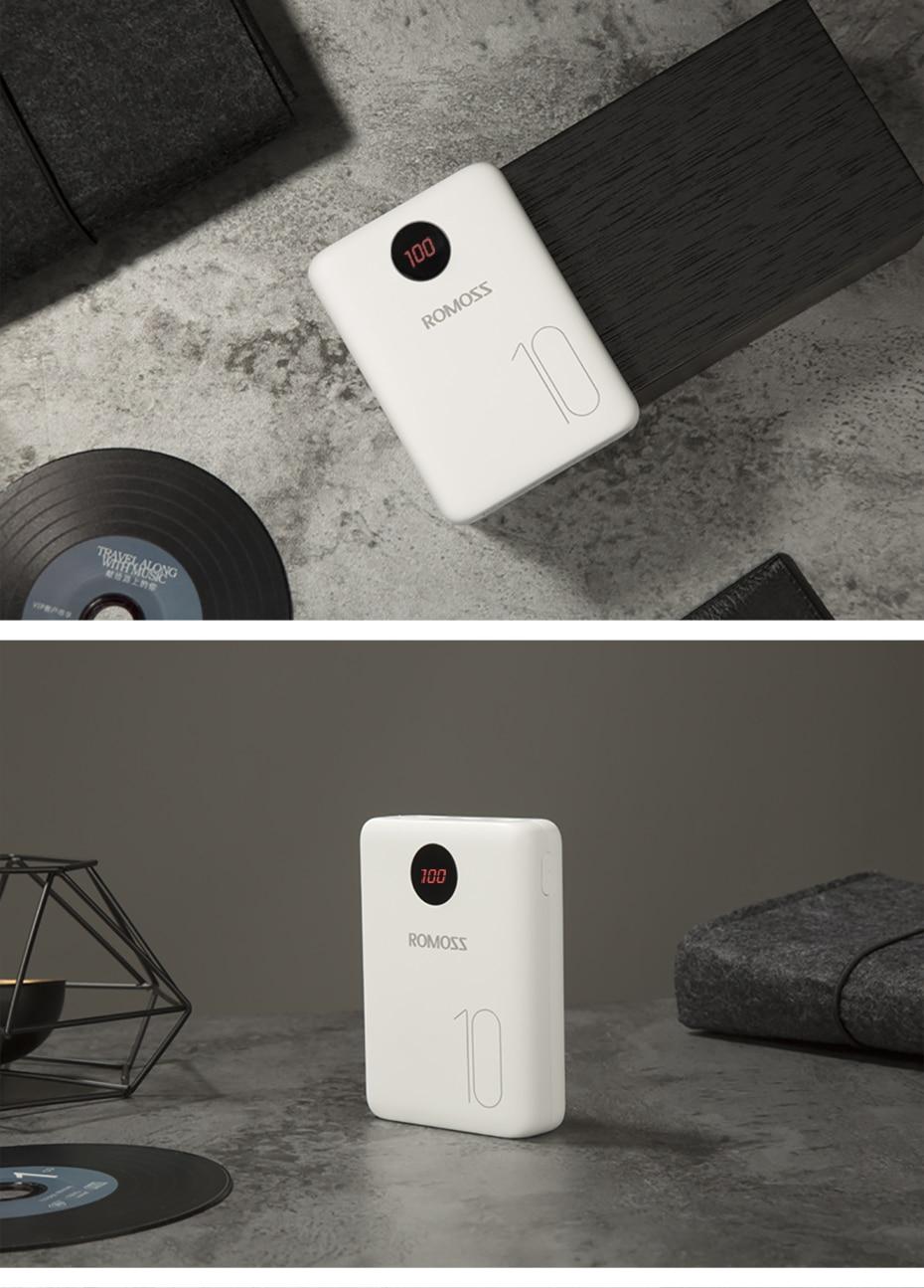 ROMOSS OM10 10000 мАч Внешний аккумулятор с двойным usb-портом, внешний аккумулятор, размер для путешествий, портативное зарядное устройство для планшета iPhone
