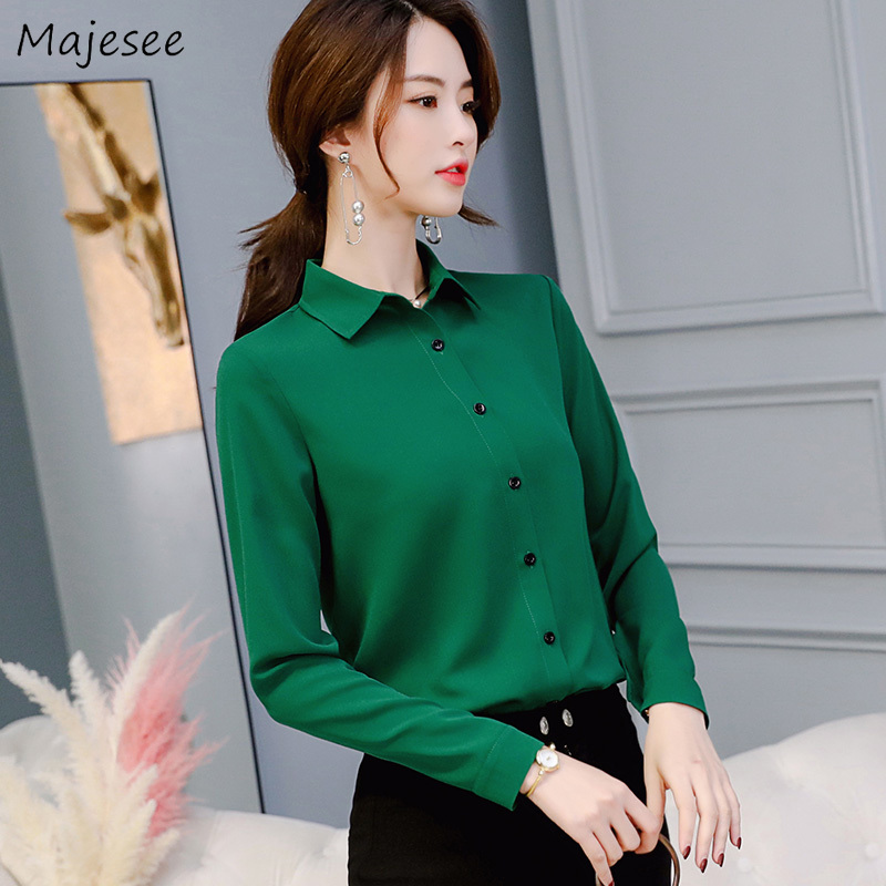 Chiffon Blouse Women Solid Turn-down Collar Casual Womens Clothing Plus Size Tops Korean Fashion Females Long Sleeve Shirts Soft