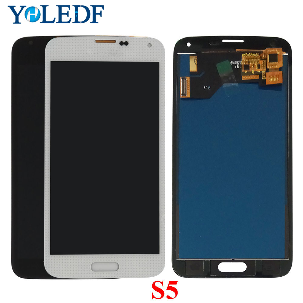<font><b>LCD</b></font> Screen For Samsung S5 I9600 <font><b>SM</b></font>-G900 G900A <font><b>G900F</b></font> G900P G900T <font><b>LCD</b></font> Display Touch Screen Panel Digitizer Assembly Replace Parts image