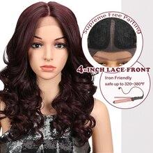"""M peruka 20 """"Cal Ombre złoty ciemno czerwony długie faliste peruki Perucas przodu koronki włosów syntetyczna koronka peruki dla czarnych kobiet luźne fale peruki"""