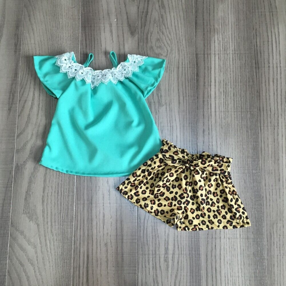 Baby Girls Summer Outfits Fresh And Cold Outfits Girl Aqua Shirt Leopard Print Shorts