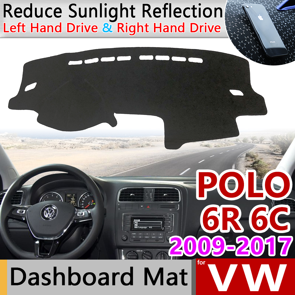 For Volkswagen VW POLO 6R 6C 2009~2017 5 MK5 Anti-Slip Mat Dashboard Cover Pad SunShade Dashmat Carpet Car Accessories 2012 2015
